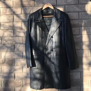 Danier Genuine Leather Black Jacket/Trench Coat